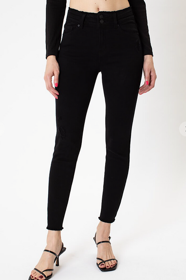Jimmi Dbl Button High Rise Jeans in Oil