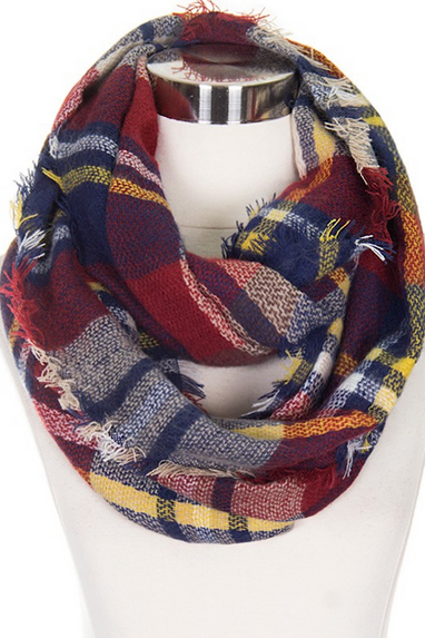 Infinity Scarf in Wine & Navy