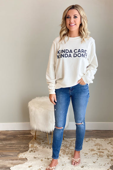 Kinda Care, Kinda Don't Corded Pullover