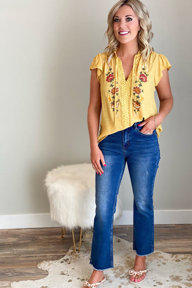 Stay Golden Embroidered Top
