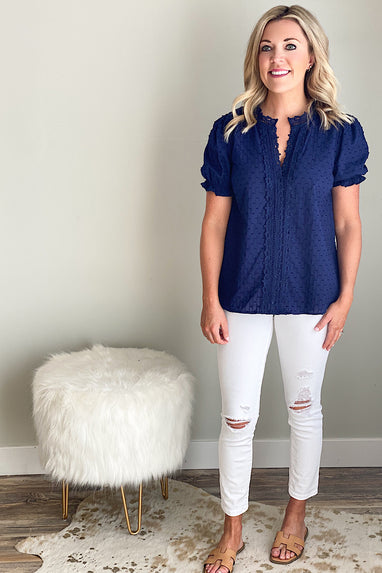 Kindra Eyelet Navy Top