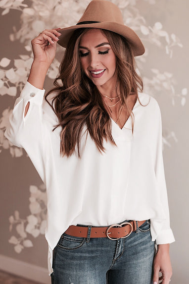Alex HiLo V-Neck Blouse