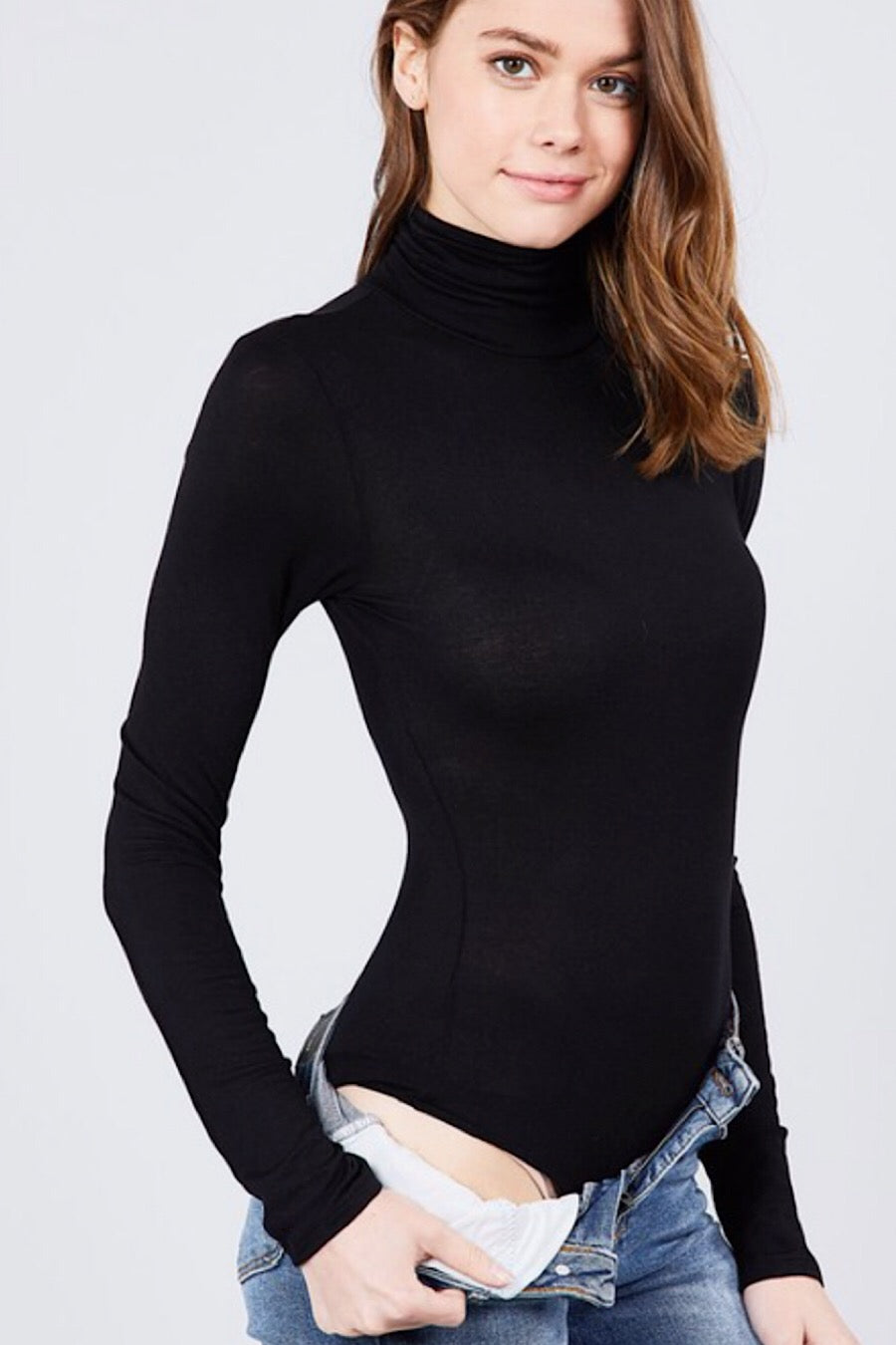 Turtleneck Jersey Bodysuit in Black or White