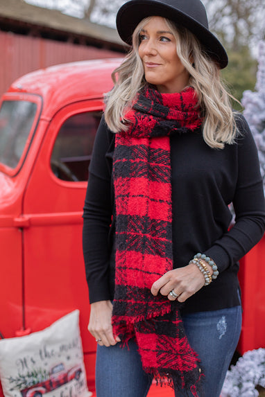 Buffalo Plaid Fringe Scarf in Red