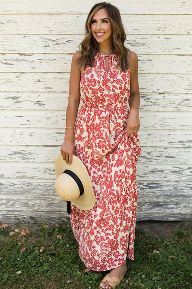 Halter Maxi Dress in Coral