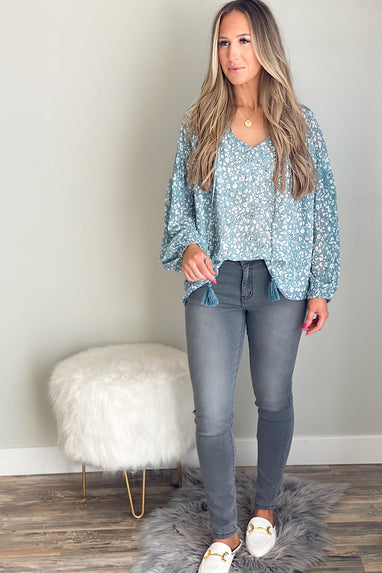 Teal World Printed Blouse