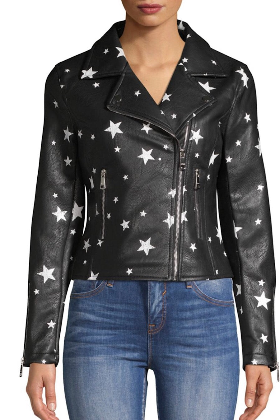 Star Faux Leather Jacket