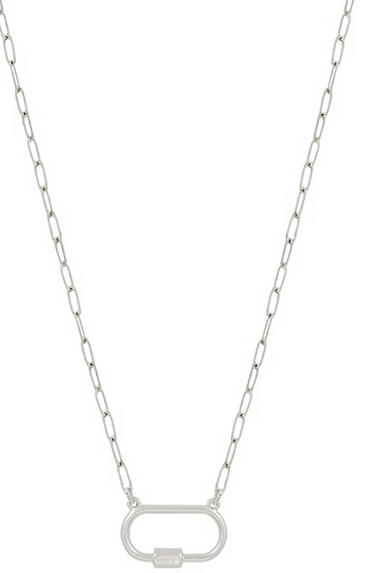 Carabiner Chain Link Necklace in Gold or Silver