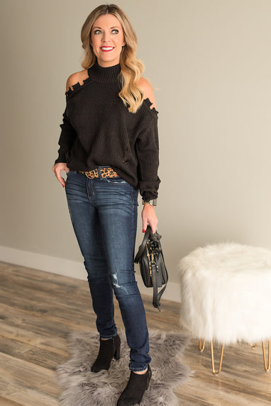 Distressed Cold Shoulder Sweater Black