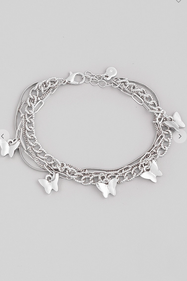 Butterfly Charm Bracelet in Gold or Silver