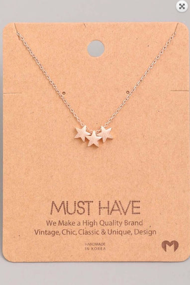 Rose Gold Triple Star Necklace
