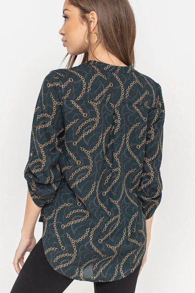 Deep V Chain Print Blouse