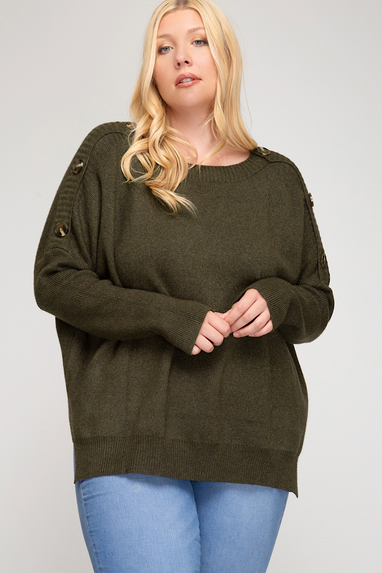 Curvy Girl Button HiLo Sweater Top