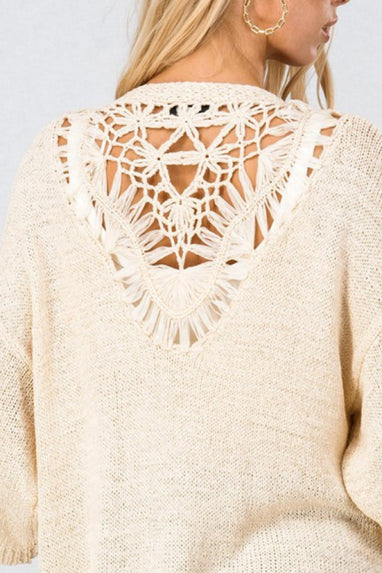 Sahara Crochet Lace Open Cardigan