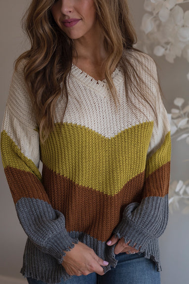 Distressed Kiwi Colorblock Sweater