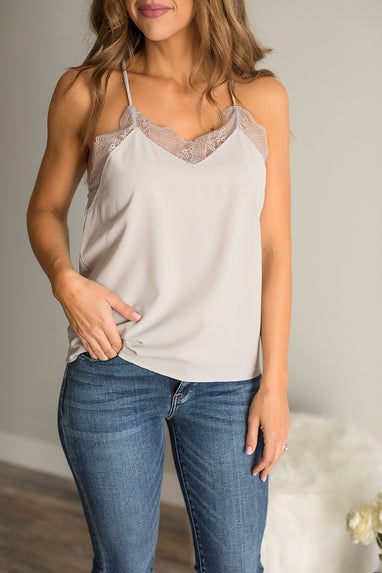 Lace Cami Top in Stone