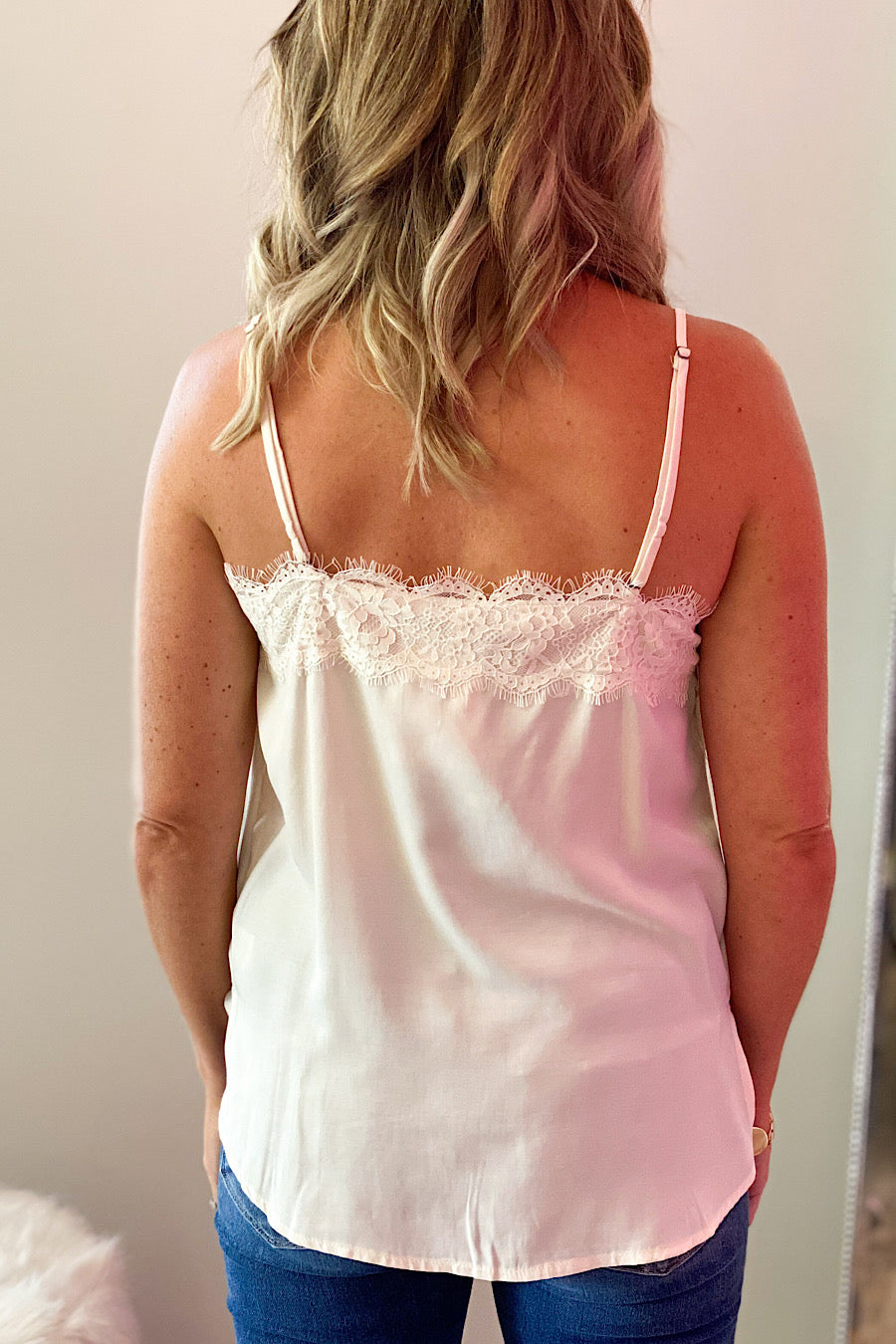 Faith & Love Lace Trim Cami in Nude