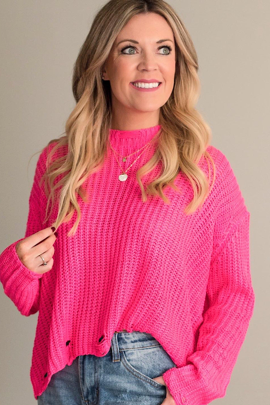 Think Pink Distressed Sweater