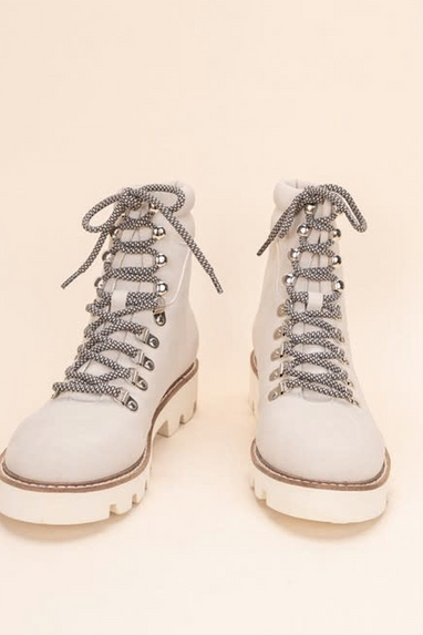 Arlene Combat Lace Up Boots in Grey