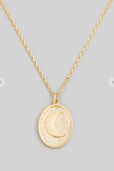 Crescent Moon Circle Necklace in Gold or Silver