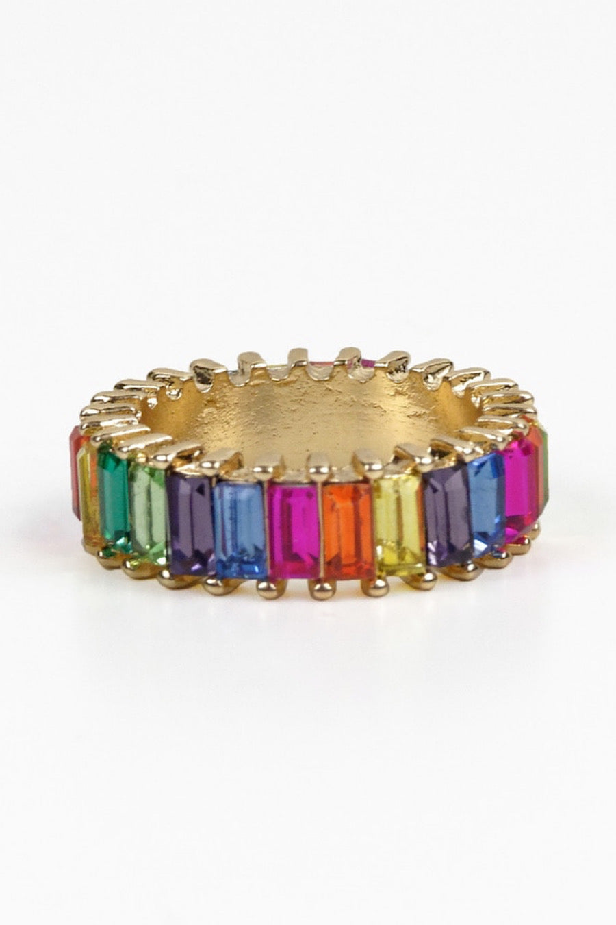 Dark multi rainbow baguette ring