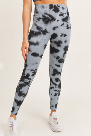 Smokescreen Tie Dye Ribbed Leggings