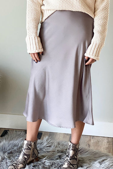 Stone Grey Satin Midi Skirt