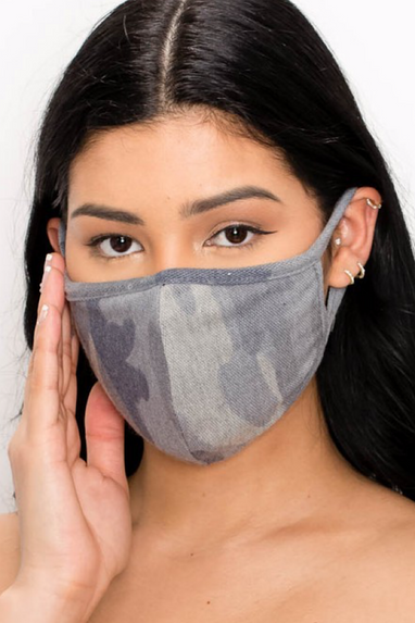 Cotton Face Mask in Grey or Camo