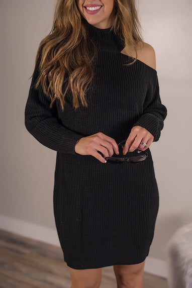 Dark Side Cutout Sweater Dress