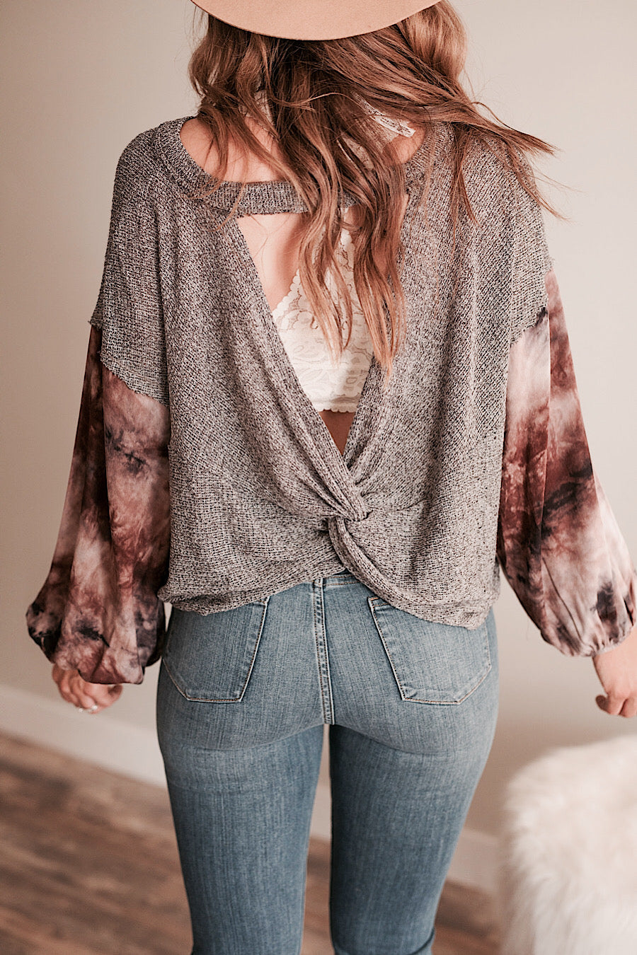 Boho Open Back Top in Charcoal