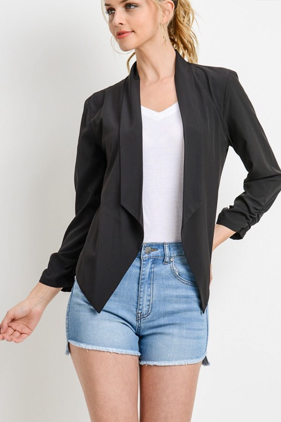 Black Open Blazer