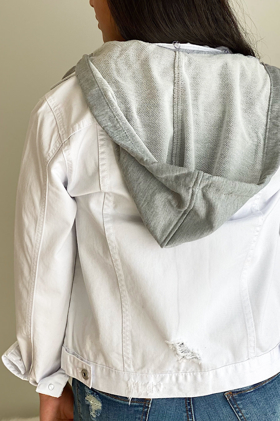 Hooded White Denim Jacket