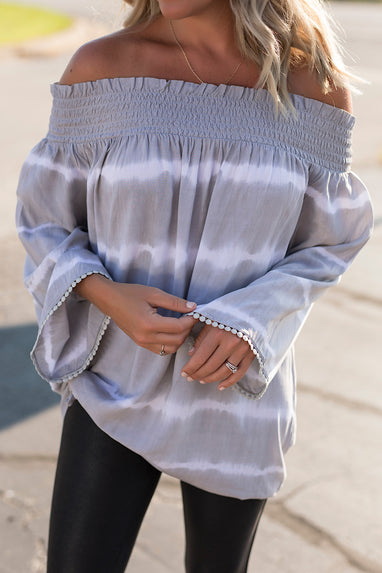 Off the Shoulder Tie Dye Blouse
