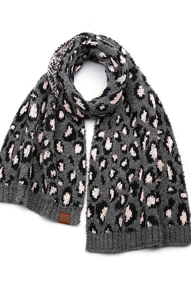 CC Knit Leopard Scarf! Grey, Ivory, Black or Latte