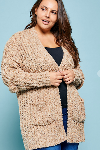 Curvy Girl Popcorn Cardigan in Taupe