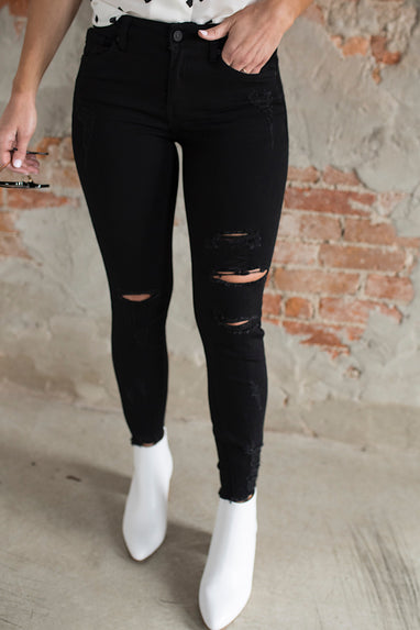 Brianna Distressed Black Jeans