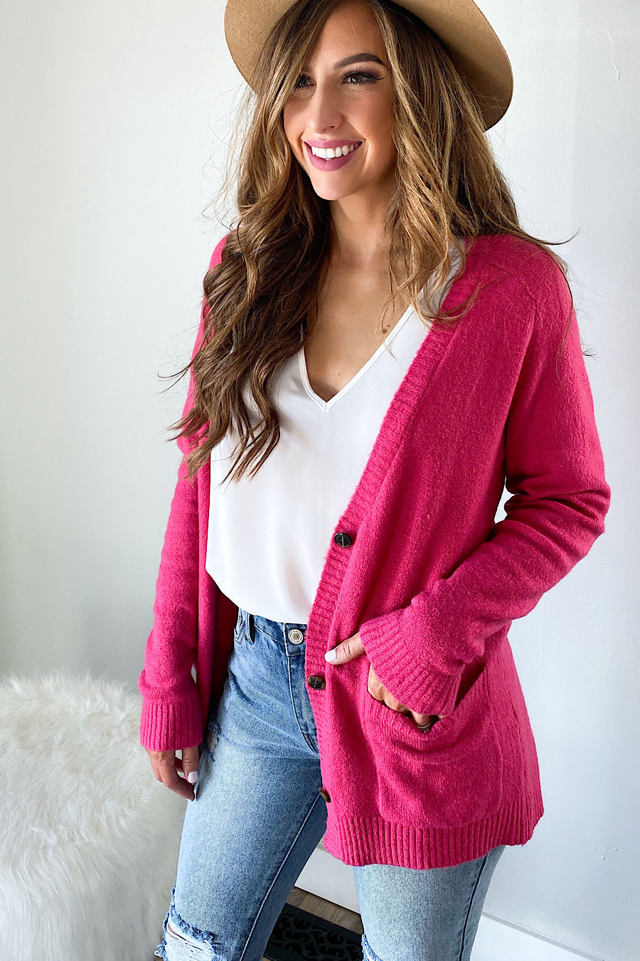 Magenta Button Down Cardigan