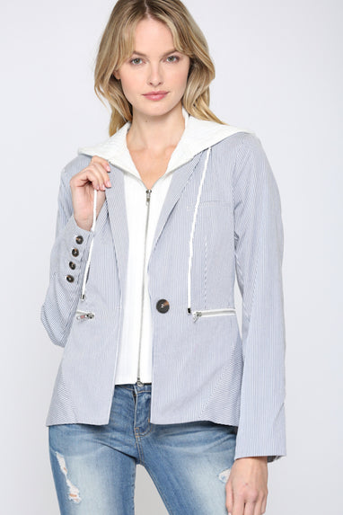 Pinstripe Hooded Blazer