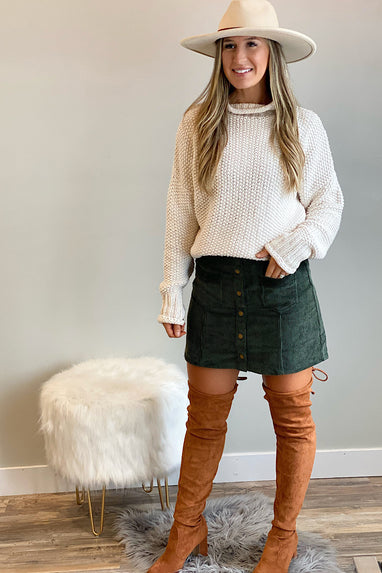 Olive Corduroy Button Mini Skirt
