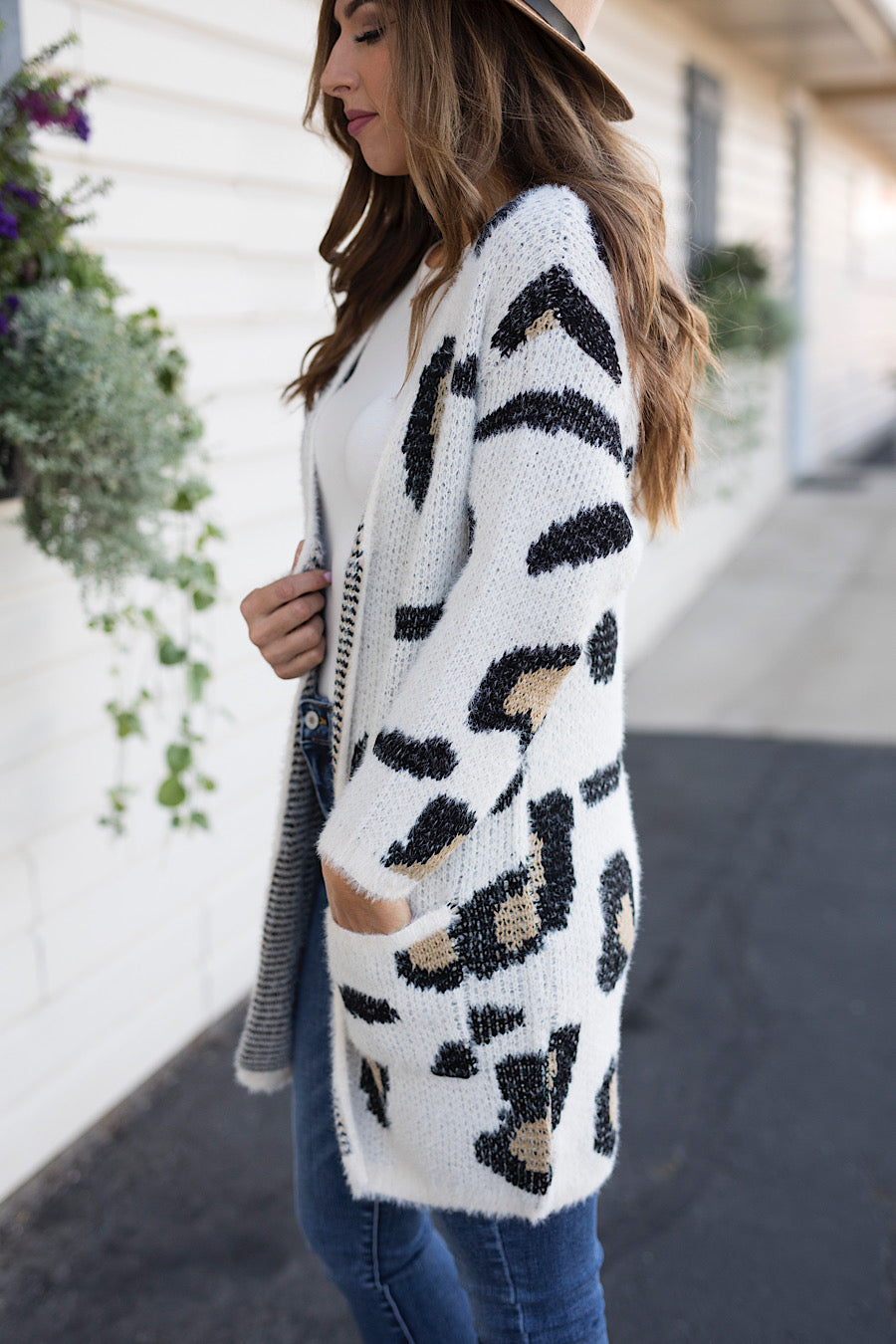 Leopard Fuzzy Sweater Cardigan