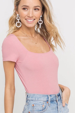 Ribbed Bodysuit in Rose