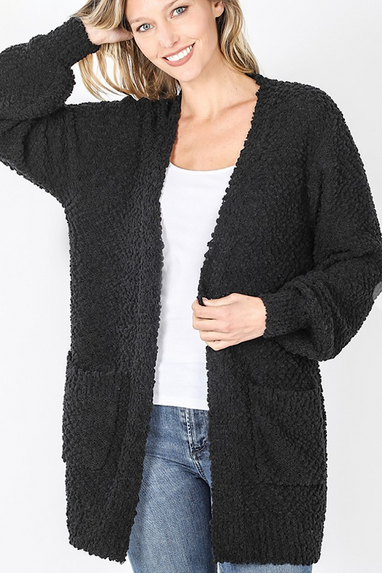Outtakes Black Popcorn Cardigan
