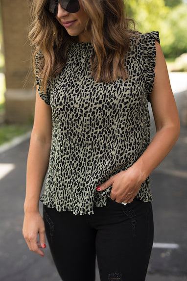 Leopard Print Olive Top