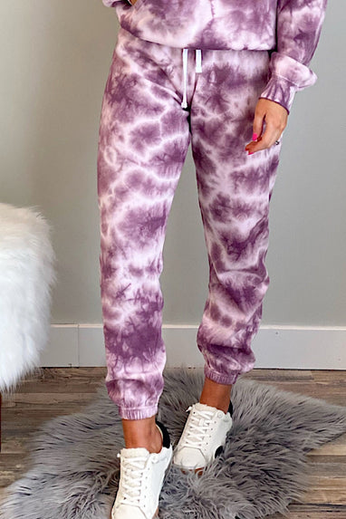 Downward Spiral Tie Dye Jogger in Wine