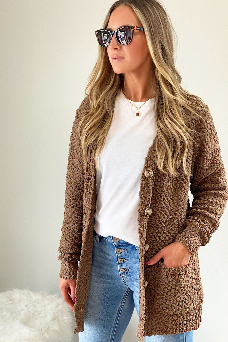 Mocha Mornings Popcorn Cardigan