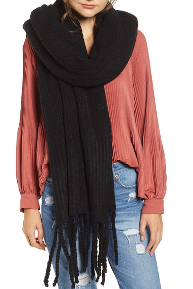 Free People Jaden Fringe Blanket Scarf in Black