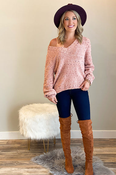 Raining Confetti Sweater in Blush