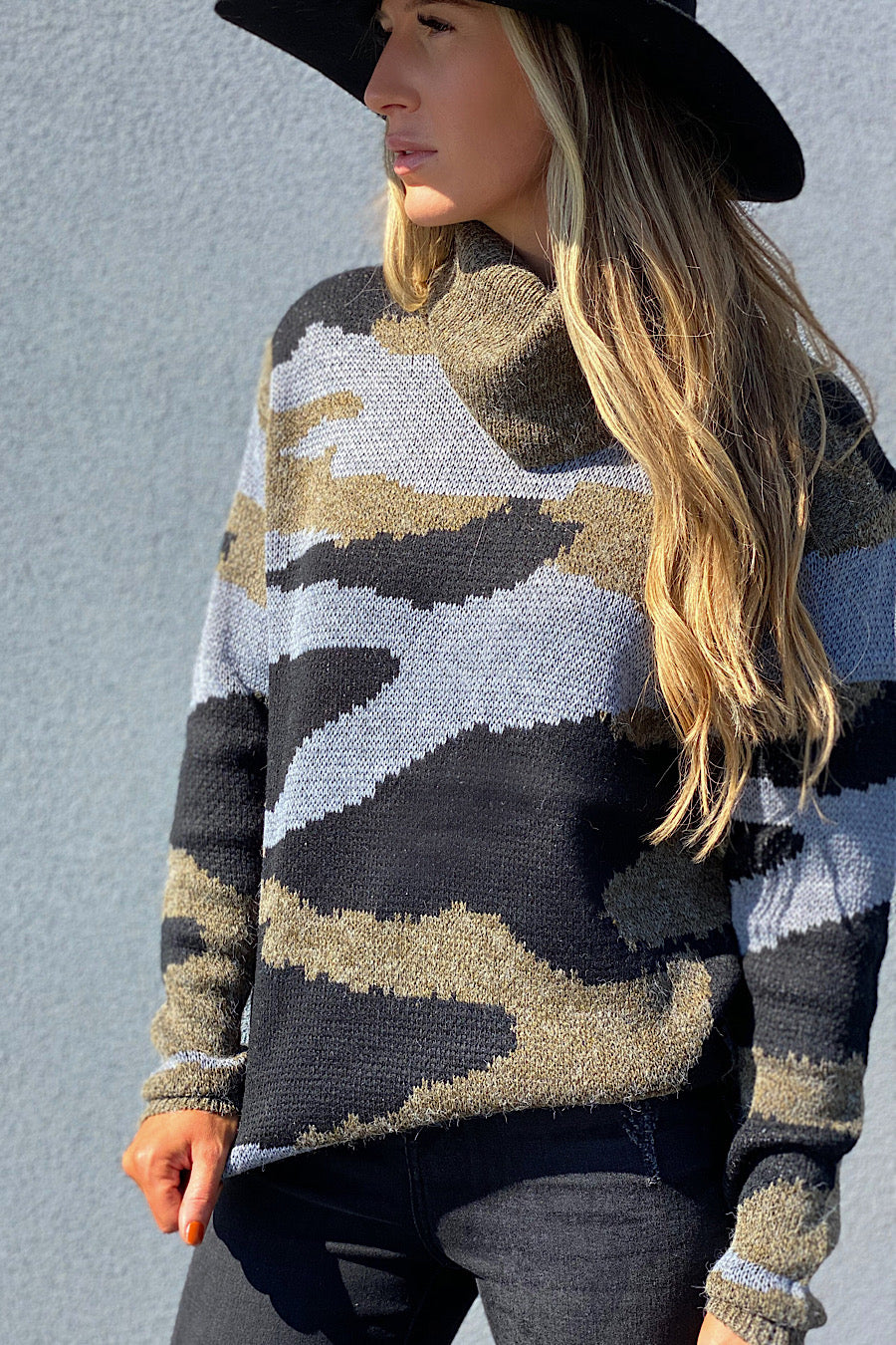 At Attention Camo Turtleneck Sweater