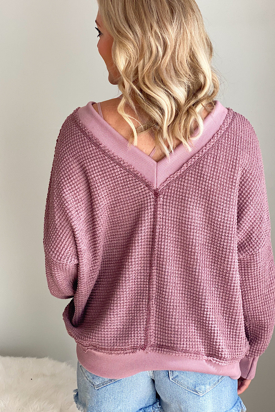 Holly Waffle Knit Top in Berry