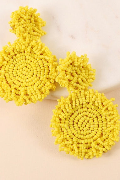 Round Seed Earrings in Yellow